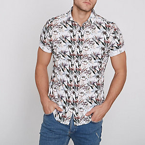 Cream floral slim fit short sleeve shirt