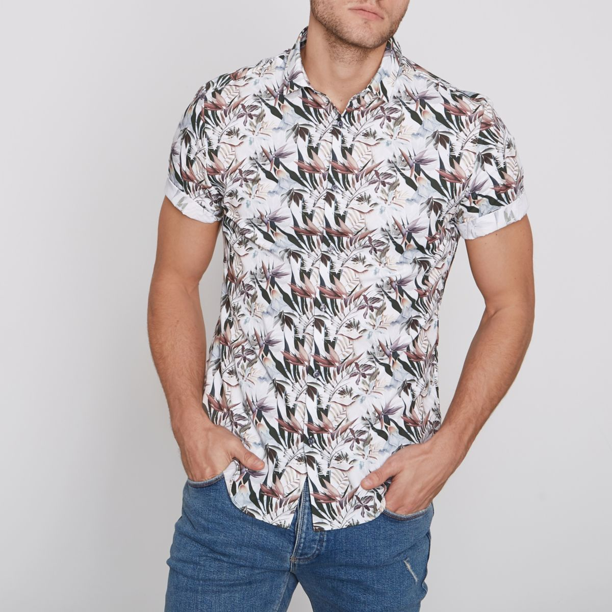 Cream floral slim fit short sleeve shirt