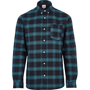 Blue check casual button-down shirt