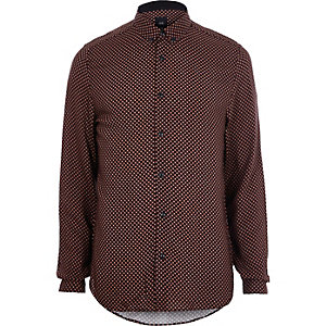 Red tile print slim fit long sleeve shirt
