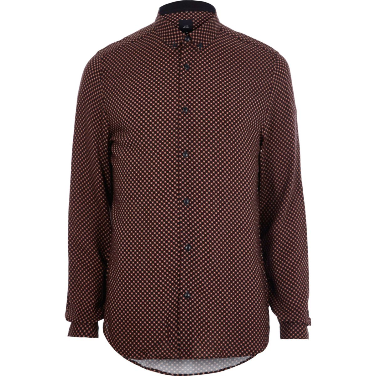 Red tile print slim fit long sleeve shirt