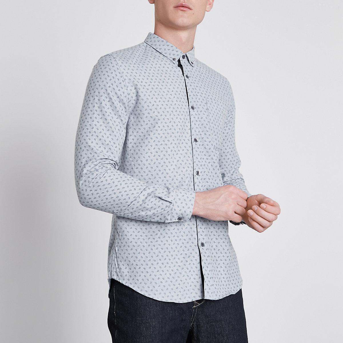 Blue paisley long sleeve slim fit shirt