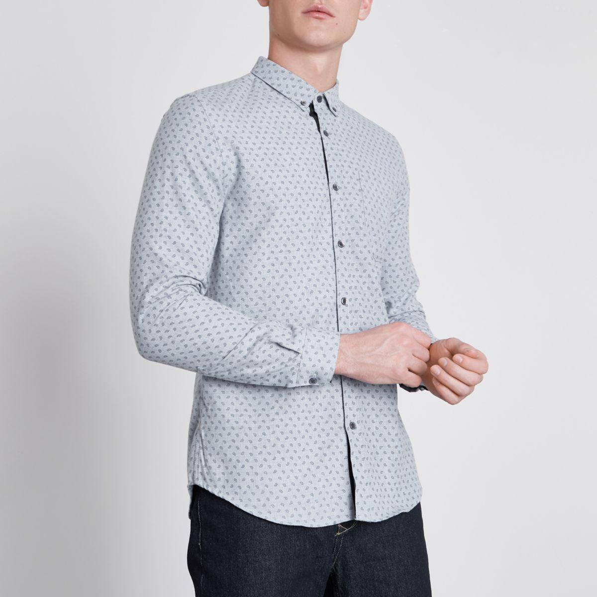 Blaues, langärmliges Slim Fit Hemd mit Paisley-Muster