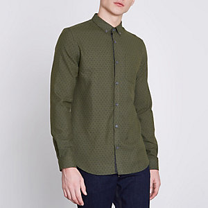 Green paisley slim fit button-down shirt