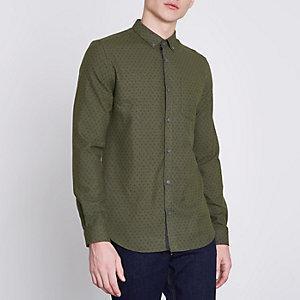 Groen slim-fit overhemd met paisleymotief en button-down kraag