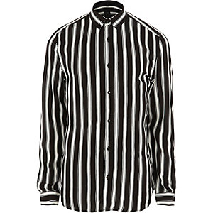 Black stripe slim fit button-down shirt