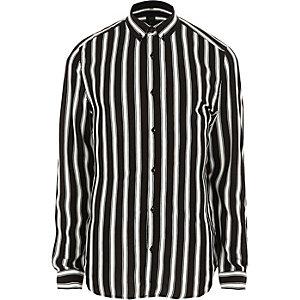 Zwart slim-fit gestreept overhemd met knopen