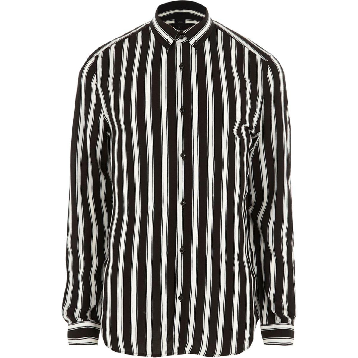 Black stripe slim fit button-down shirt