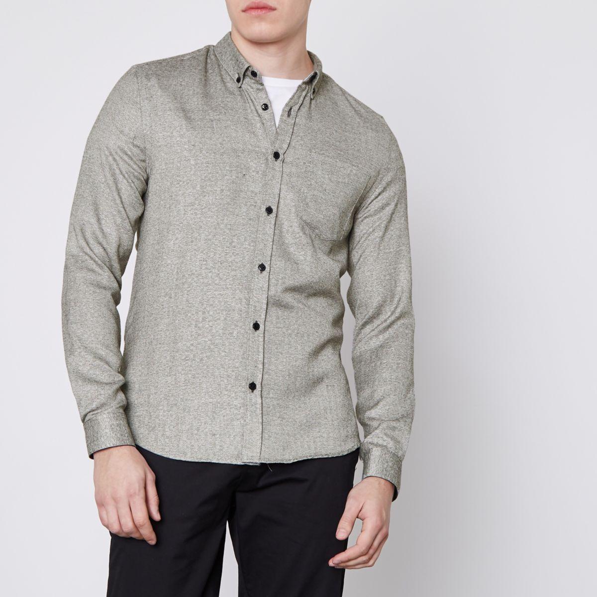 Grey herringbone slim fit button-down shirt