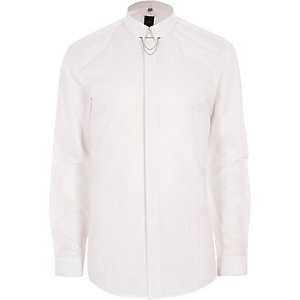 White jacquard collar chain slim fit shirt