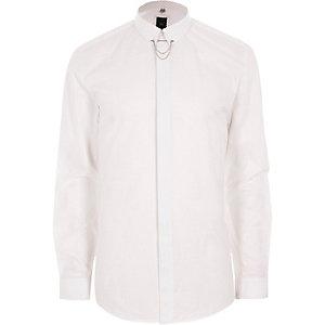 Wit jacquard slim-fit overhemd met ketting aan de kraag