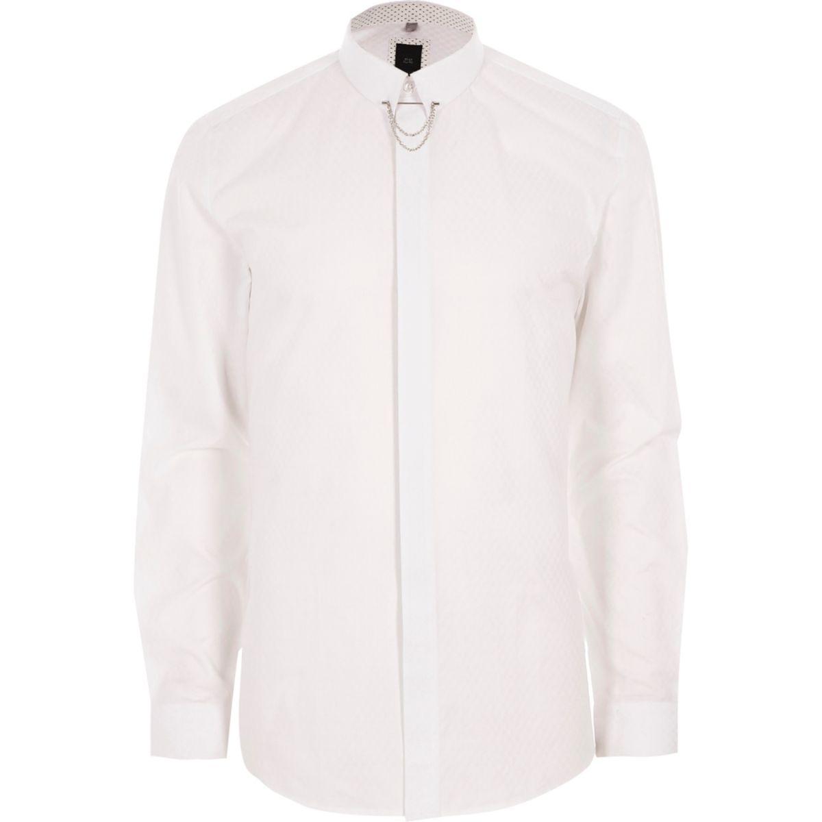 White jacquard collar chain slim fit shirt