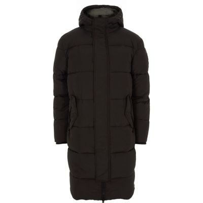 Black Oversized Hooded Puffer Parka Coat by River Island
