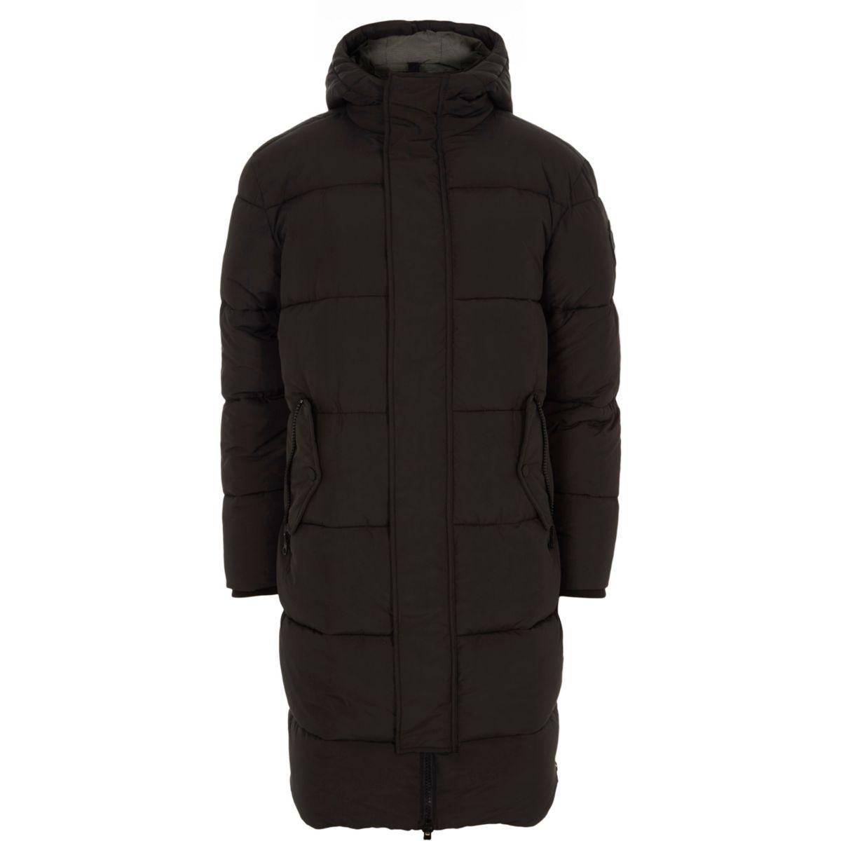 Black oversized hooded puffer parka coat