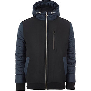 Navy blocked hooded puffer jacket
