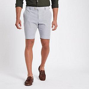 Blauwe gestreepte skinny-fit short