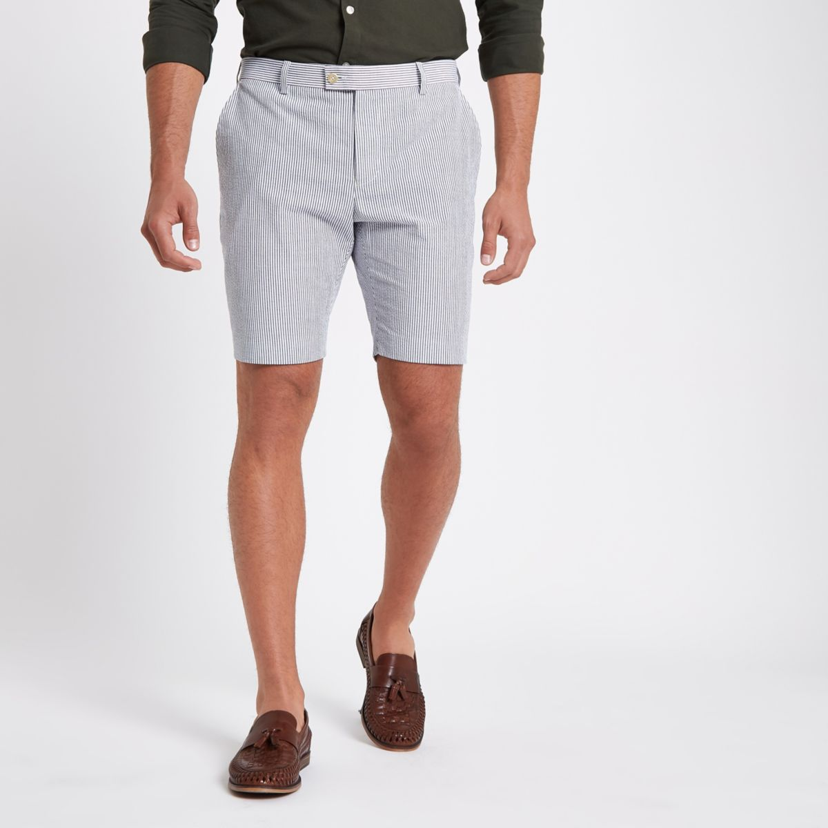 Blue stripe slim fit chino shorts