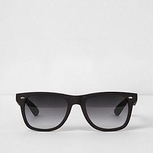 Bruine vierkante retro zonnebril met houteffect