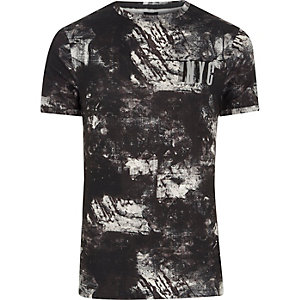 "Schwarzes Muscle Fit T-Shirt mit ""NYC""-Print"