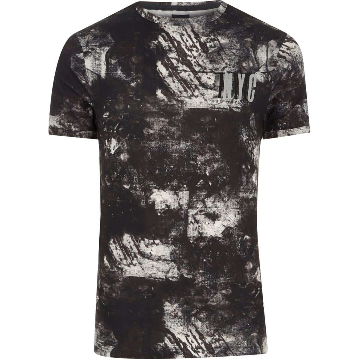 Black mono smudge 'NYC' muscle fit T-shirt