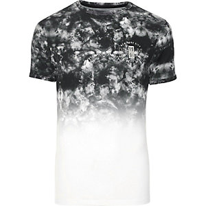 Grey smoke fade print muscle fit T-shirt
