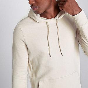 Kiezelkleurige aansluitende hoodie