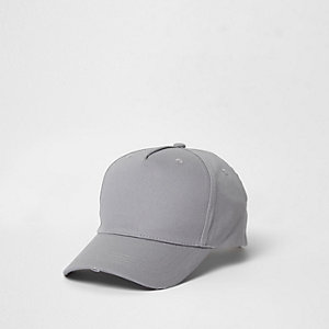 Grey distressed baseball cap