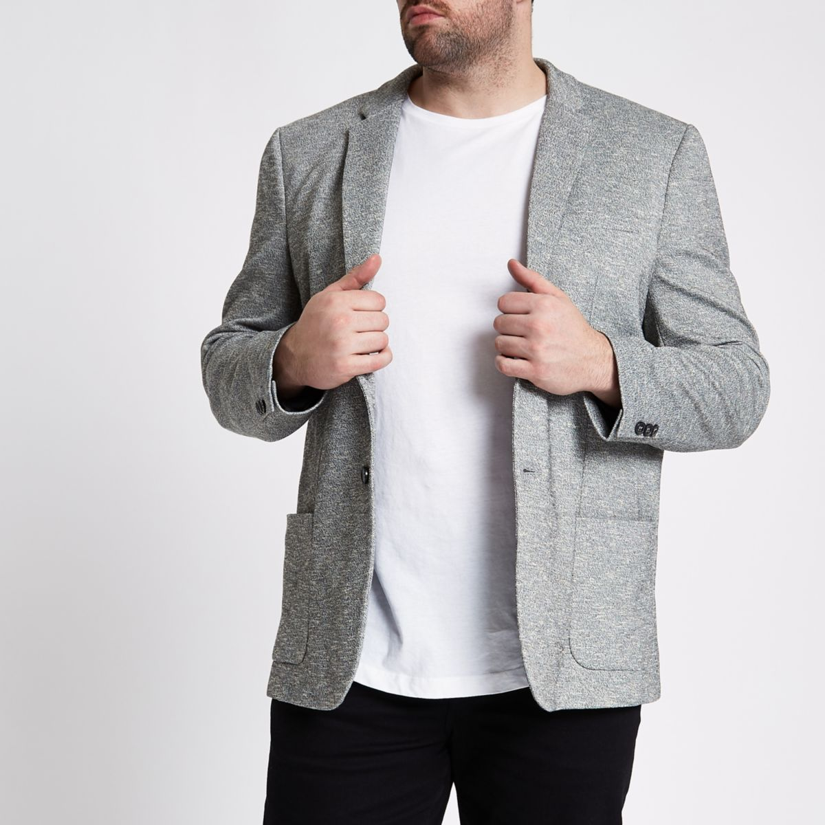 Big and Tall light grey space dye blazer