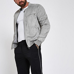 Light grey faux suede racer neck jacket