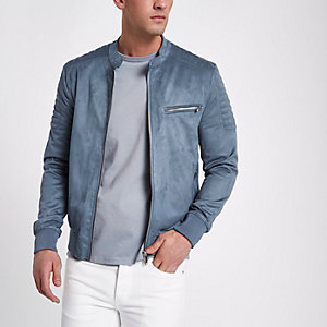 Blue faux suede racer neck jacket