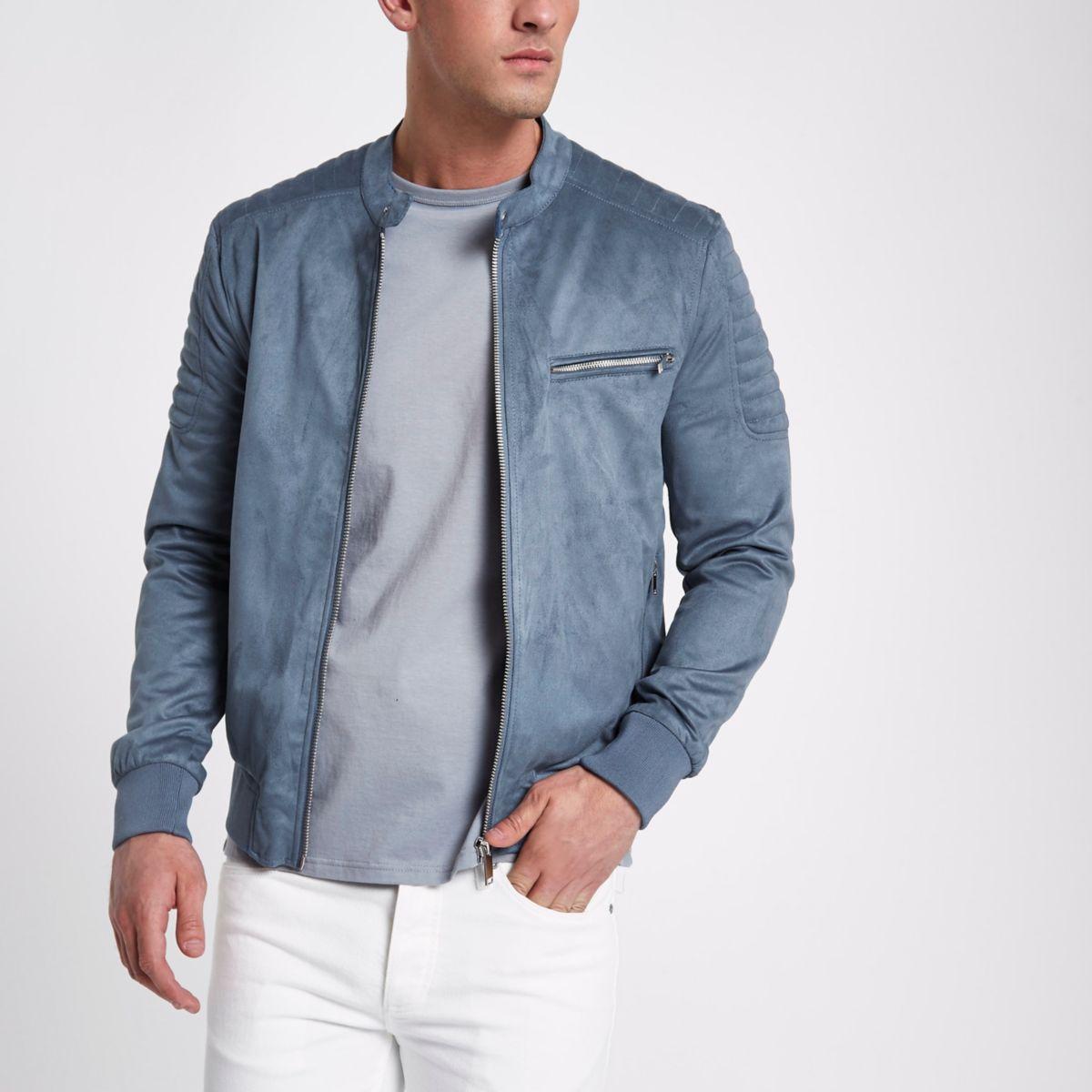 Blue faux suede racer neck jacket