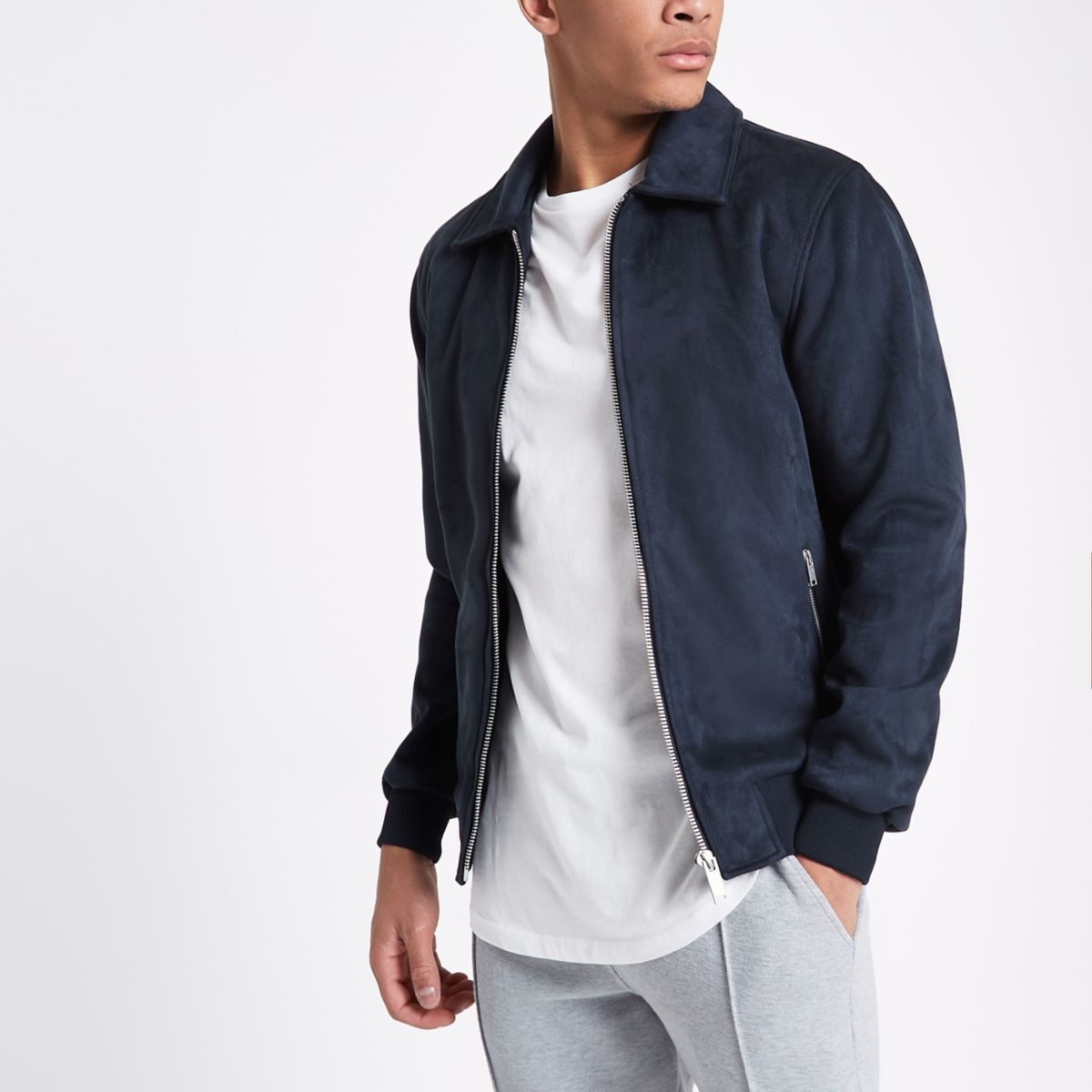 Navy faux suede harrington jacket