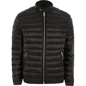 Black padded racer neck jacket