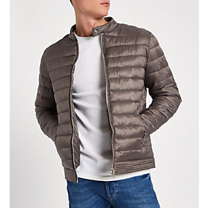 Stone quilted racer neck jacket