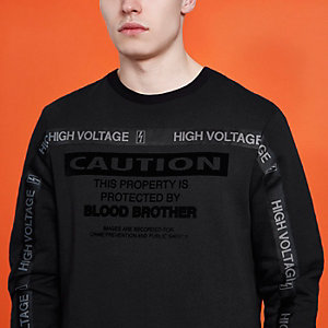 Sweat-shirt Blood Brother noir à inscription « caution »