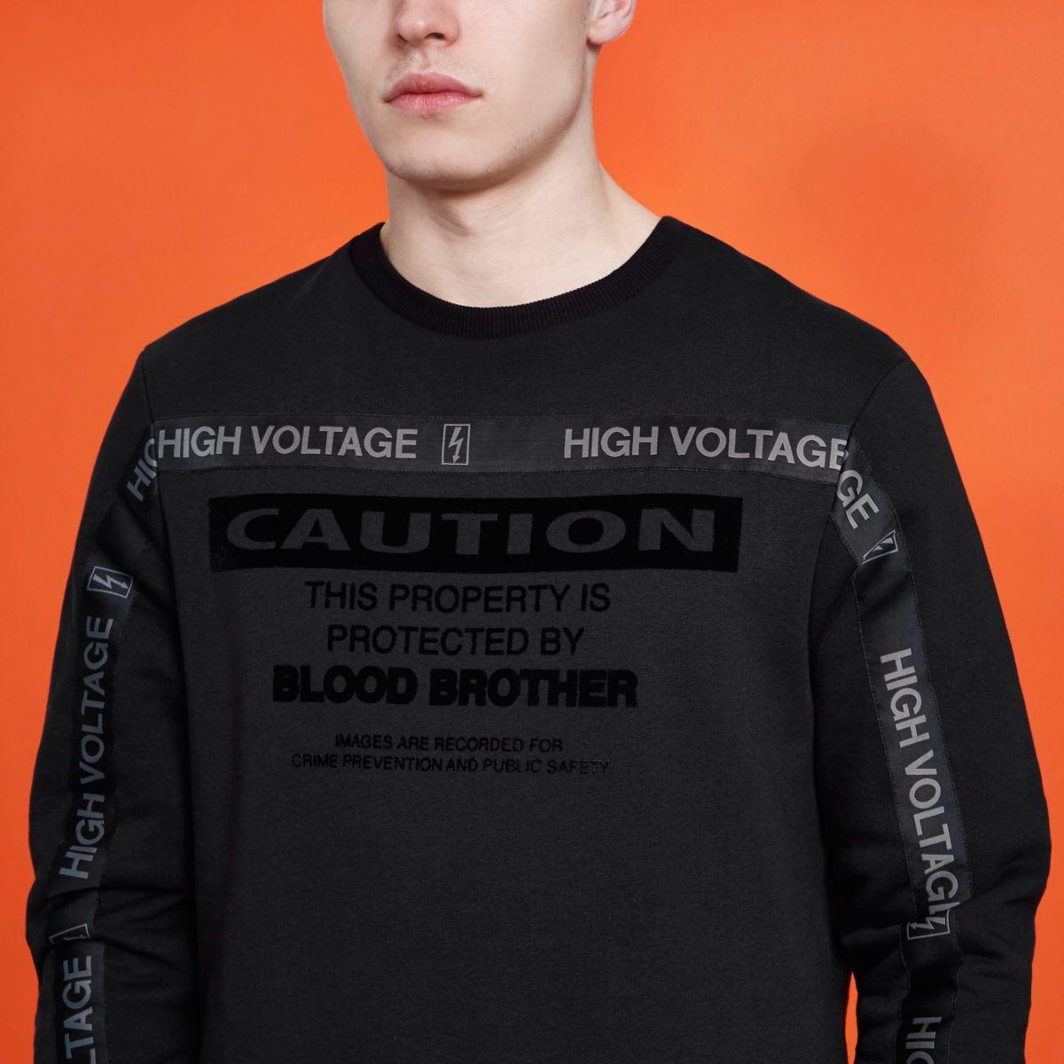Sweat-shirt Blood Brother noir à inscription « caution »