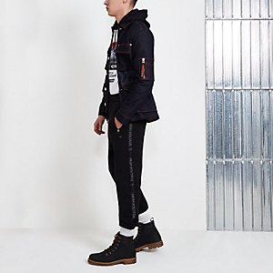 Pantalon de jogging Blood Brother noir avec empiècement sur les côtés