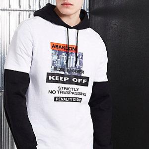 Blood Brother - Wit T-shirt met 'abandon'-print