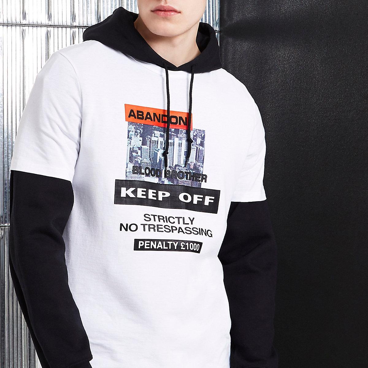 White Blood Brother 'abandon' print T-shirt