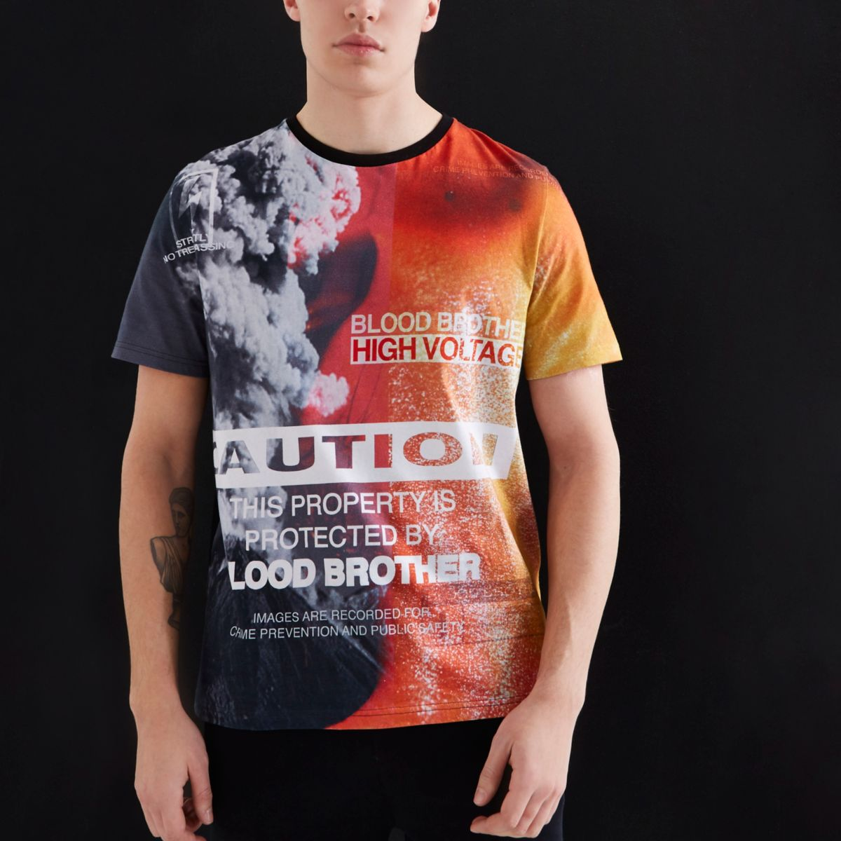 Orange Blood Brother 'caution' print T-shirt