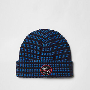 Navy knitted 'lunar' badge beanie hat