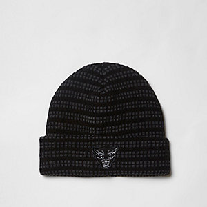 Grey knitted badge beanie hat