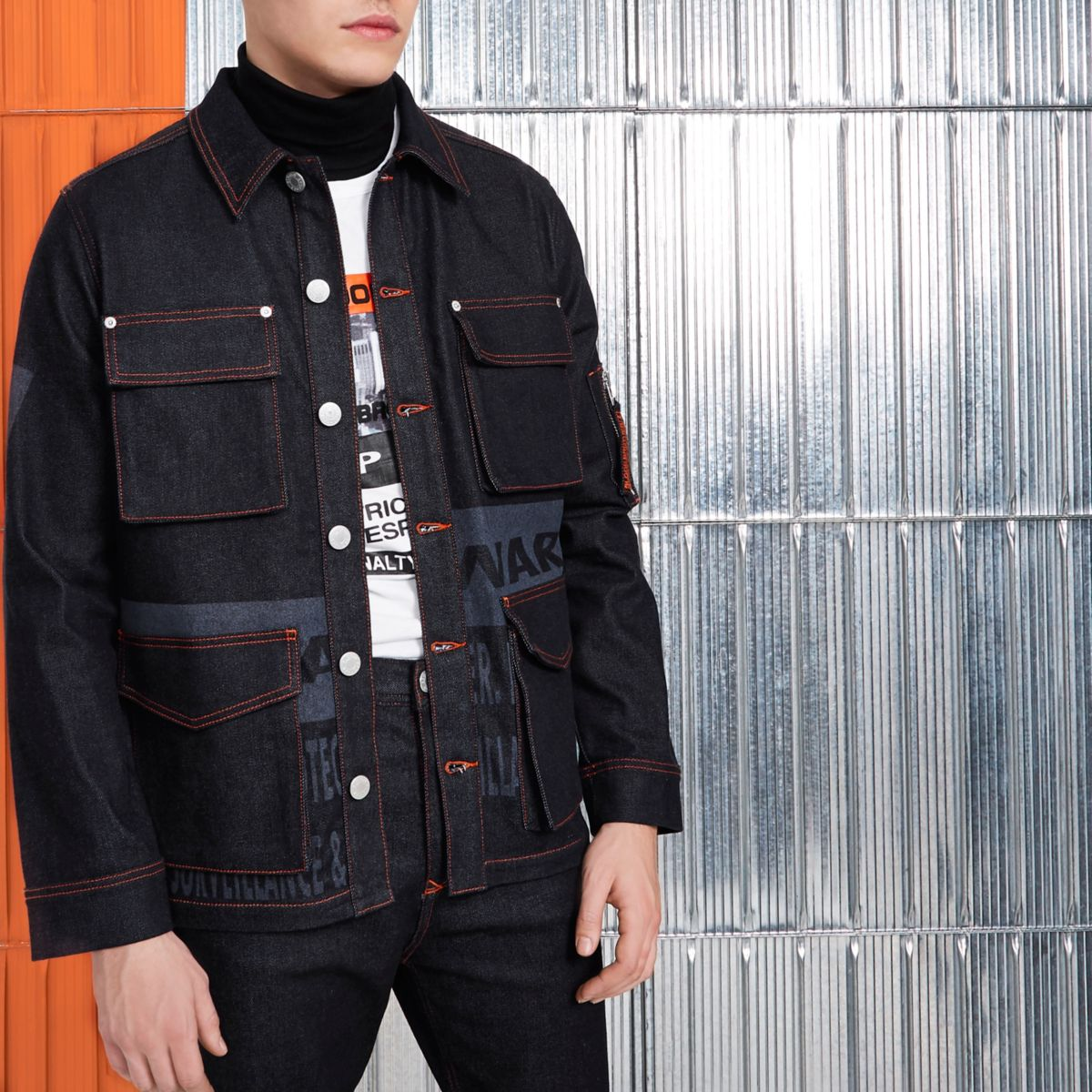 Navy Blood Brother denim jacket