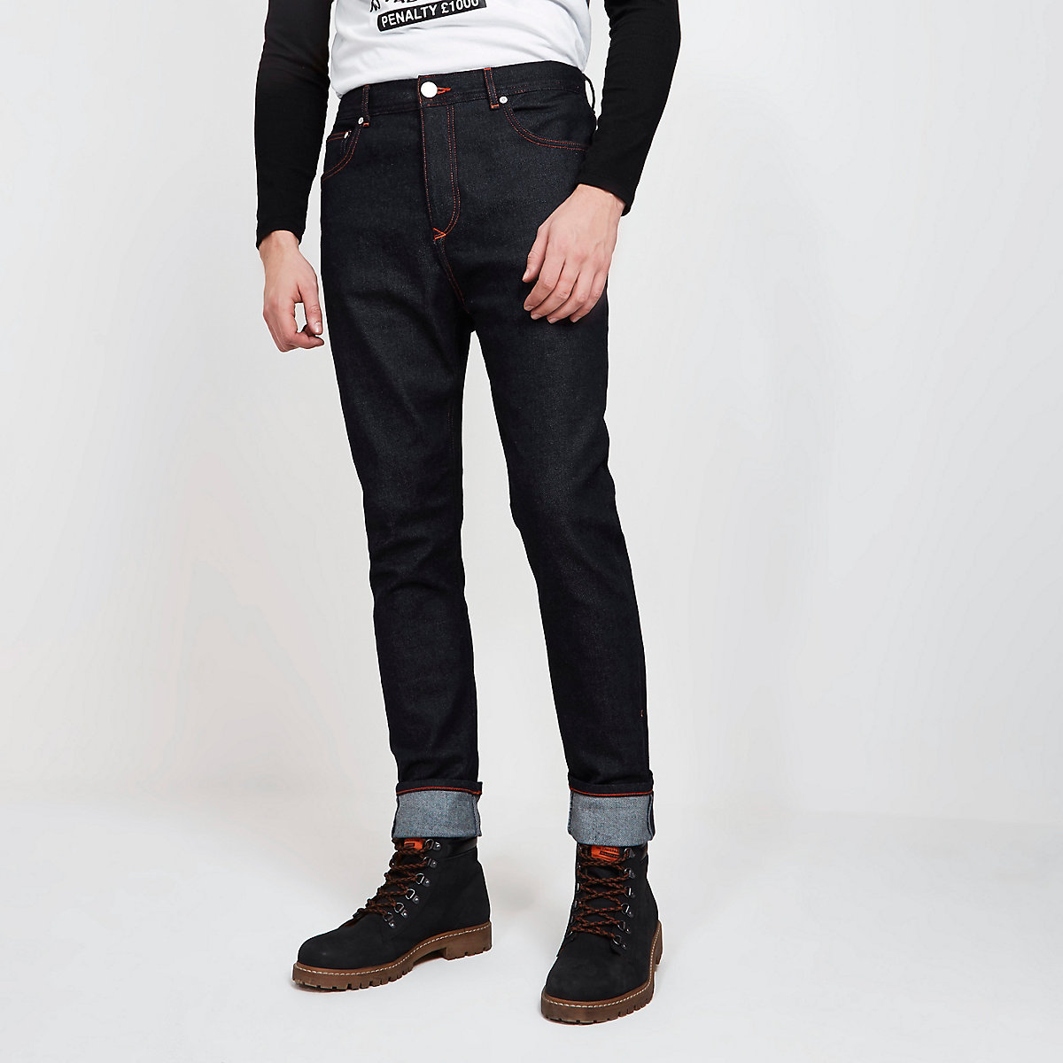 Navy Blood Brother tapered jeans