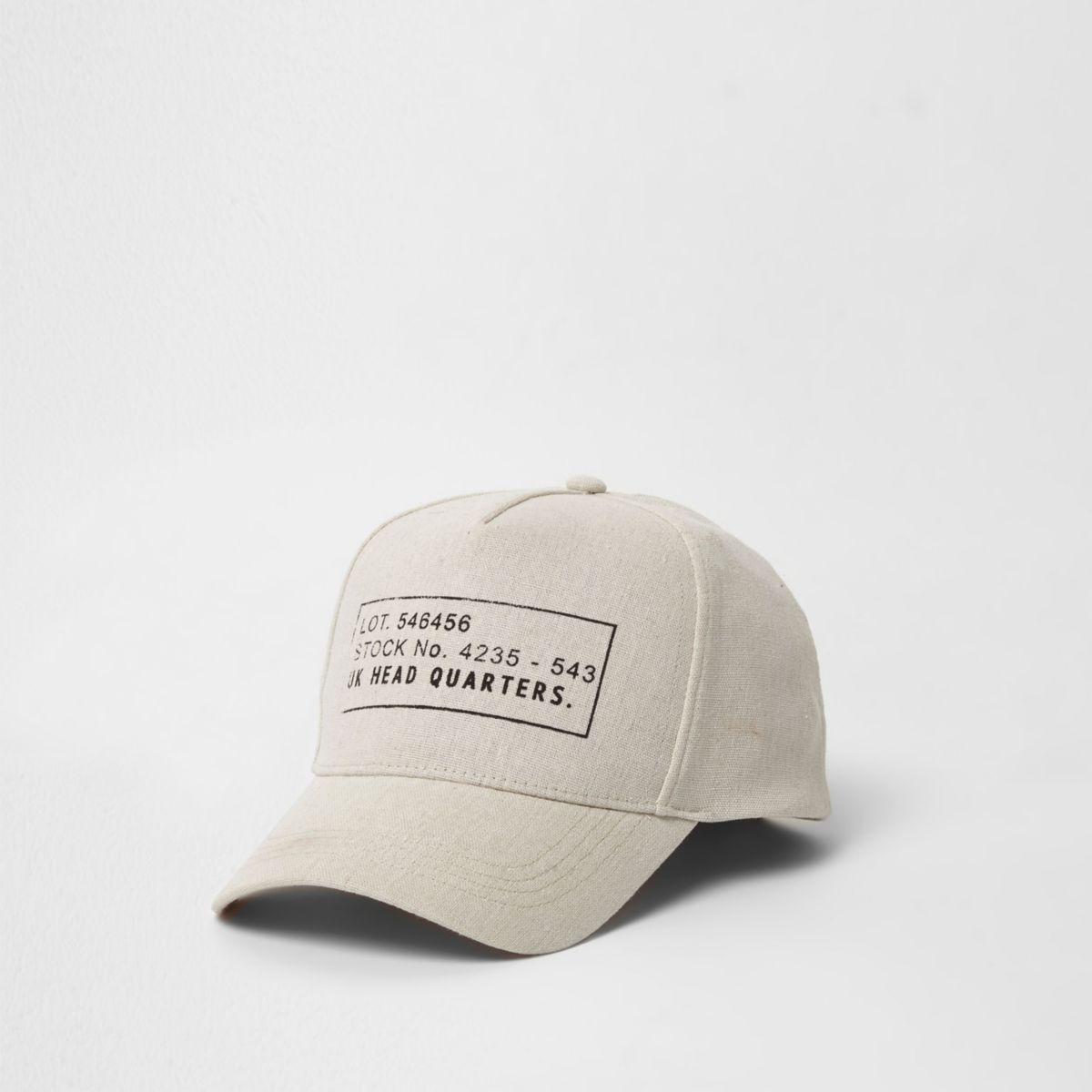 Cream 'headquarters' stamp baseball cap