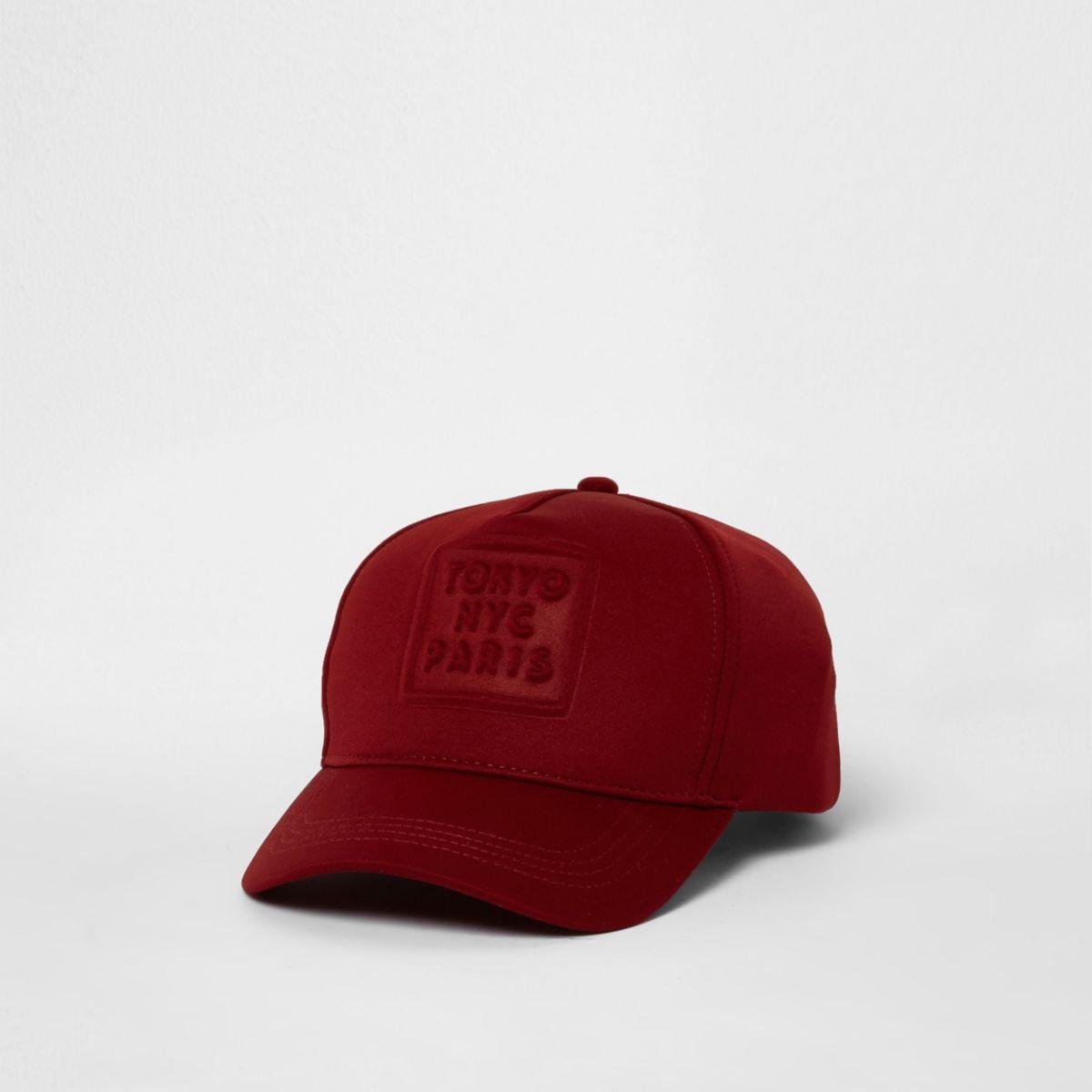 Burgundy 'NYC' embossed baseball cap