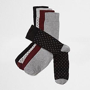 Lot de chaussettes bordeaux motif petites flèches