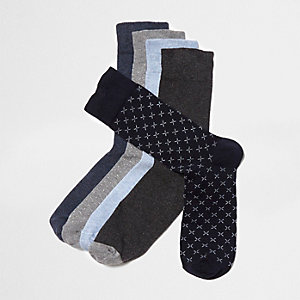 Blue micro cross socks multipack