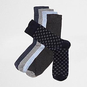 Multipack blauwe sokken met kleine kruisjes