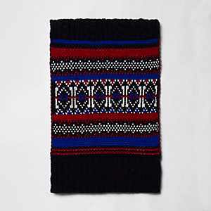 Navy cable knit Fairisle scarf